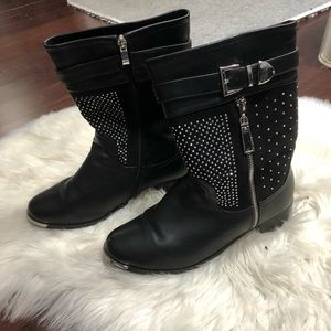 Italina silver studded sparkle fur lined boots